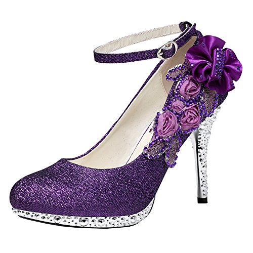 (getmorebeauty Women's Glitter Purple Lace Flower Sequins Strappy Closed Toes Dress Wedding Shoes 6 B(M))
