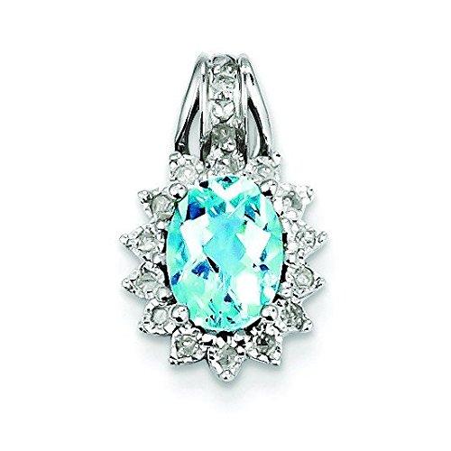 Argent Sterling diamant pendentif topaze bleue-JewelryWeb
