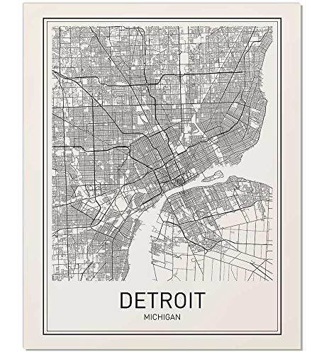 Amazon Com Detroit Poster Detroit Map Map Of Detroit Detroit Art