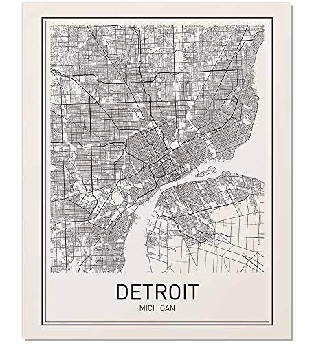 Detroit Poster, Detroit Map, Map of Detroit, Detroit Art, Minimalist Poster, City Map Posters, Detroit Michigan Map, Map Wall Art, Map Art, Scandinavian Poster, 8x10 from MotivatedWallArt