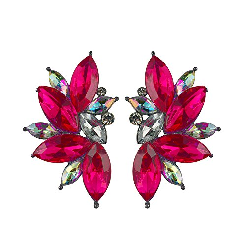 - Colorful Punk Rock Spiky Oversized Candy Rhinestone Studded Cluster Women Stud Earrings in Shades of Rainbow - Purple, Green, Blue, Pink, Yellow, Red, and Many More! (Magenta)
