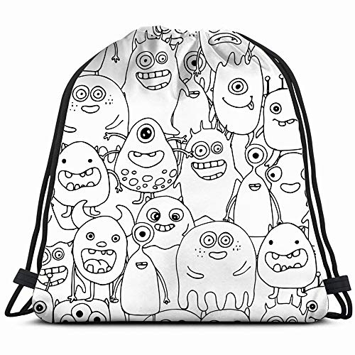 Doodle Monsters Coloring Page Drawstring Backpack Gym Dance Bags For Girls Kids Bag Shoulder Travel Bags Birthday Gift For Daughter Children -