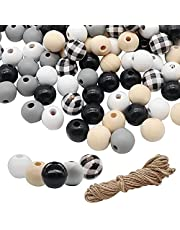 AWEELON 200Pcs Black White Plaid Wooden Beads Craft Wood Round Beads with Hemp Rope for DIY Home Decoration Jewelry Making