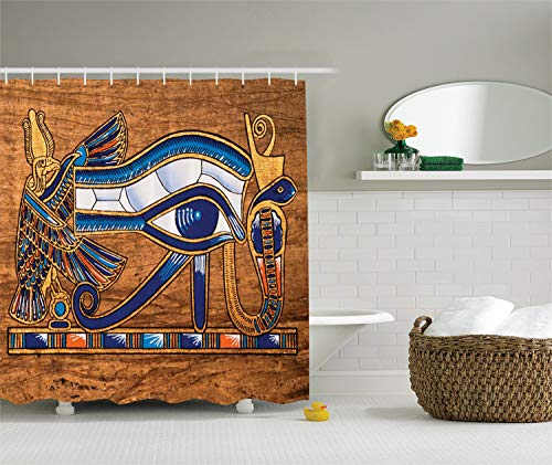 Egyptian Shower Curtain by Ambesonne, Egyptian Ancient Art Papyrus Depicting Eye Mosaic Style Design, Fabric Bathroom Decor Set with Hooks, 75 Inches Long, Navy Blue Orange and Brown