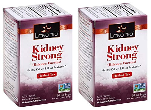 Bravo Tea Kidney Strong Herbal Tea (Pack of 2) With Pyrrosia Leaf, Schizandra Berry, Oriental Waterplantain Root, Eleuthero Leaf, Galangal Berry, Euryale Seed and Macrocarpium Berry, 20 Tea Bags Each