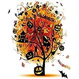 VROSELV Custom Blanket Halloween Collection Distressed Horror Tree with Mystic Halloween Elements Skull Devil Scary Design Soft Fleece Throw Blanket Orange Black