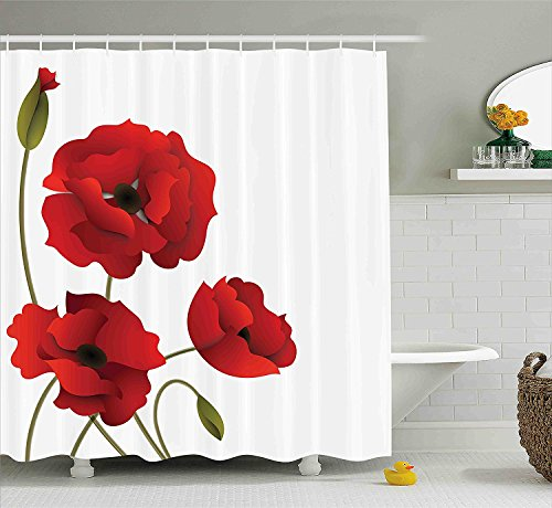 [Floral Shower Curtain Poppy Flowers Bright Petals with Buds Pastoral Purity Mother Earth Nature Design Fabric Bathroom Decor Set with Hooks Red] (Vintage Pin Up Girl Costume Ideas)