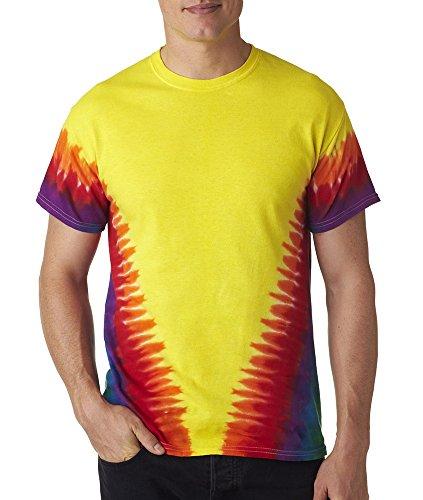 H1140 tie dye Adult Tie-Dyed Flourescent Swirl and Vee Rainbow Cotton Tee