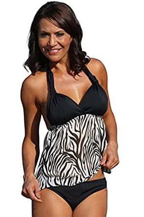 TOP ONLY Sheer Zebra Open-Back Tankini at Amazon Women's