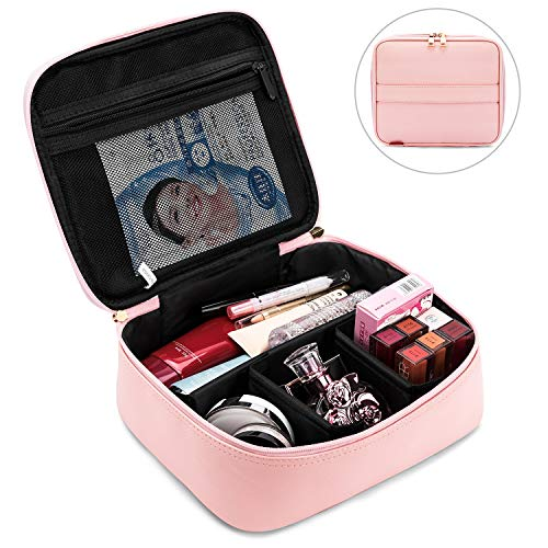 Makeup Bag NiceEbag Cosmetic Case for Women and Girls Cute Leather Makeup Organizer Case Travel Cosmetic Bag with Adjustable Padded Dividers for Cosmetics Make Up Tools Toiletry Jewelry,Rose Gold by NiceEbag