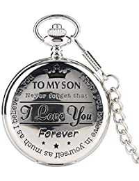Silver Classic to My Son Kids Quartz Pocket Watch with Chain