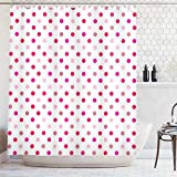Pink Polka Dot Shower Curtain Ambesonne Polka Dots Home Decor Collection, Polka Dots Pattern Consisting of An Array of Filled Circles Pop Art Concept, Polyester Fabric Bathroom Shower Curtain Set with Hooks, Pink Red White