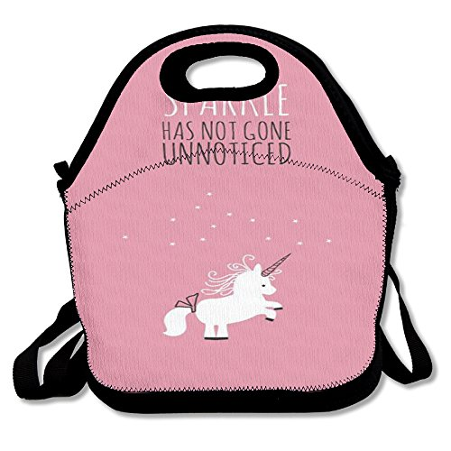Unicorn Horse Retro Insulated Thermos Polyester Shoulder Strap Women Men Kids Boys Black Lunch Bag Tote Lunch Box For School Office