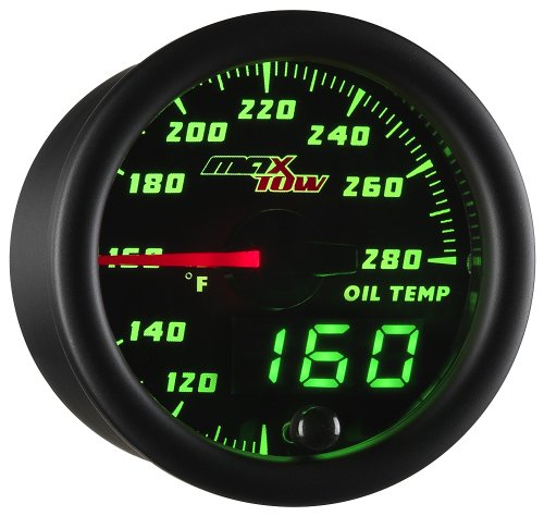 MaxTow Double Vision 280 F Oil Temperature Gauge Kit - Includes Electronic Sensor - Black Gauge Face - Green LED Illuminated Dial - Analog & Digital Readouts - For Trucks - 2-1/16