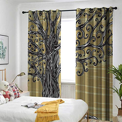 AndyTours Tree of Life Decor Sliding Door Curtain Swirled Twists Oak Branches Spiritual Nature Eco Sketchy Illustration Room Darkening Thermal 84