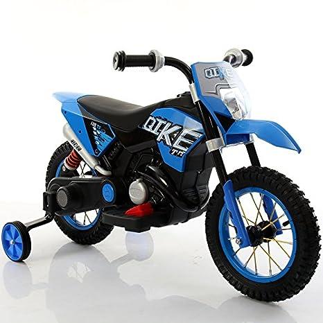 Babycar Moto eléctrica para niños Moto Azul Cross Juguete eléctrica para niños con Ruedas de Goma: Amazon.es: Juguetes y juegos