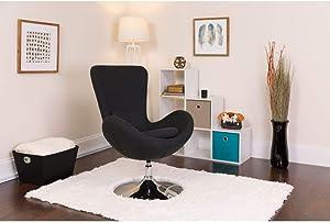 Flash Furniture Egg Series Black Fabric Side Reception Chair