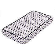 Bacati Noah Tribal Quilted Top Cotton Muslin with Polyester Batting Diaper Changing Pad Cover, Navy Bucks