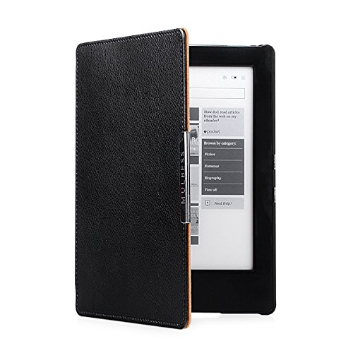 H2O eReader eBook Ultra Slim Genuine Leather Case Cover with Elastic Hand Strap for Kobo Aura H2O Color Black (Aura Leather)