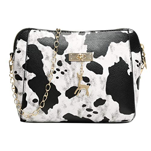 Women Bag,YuhooSUN MaxFox Ladies Leopard Print Fawn Pendant Shell Zipper Crossbody Shoulder Bag Messenger Bag White