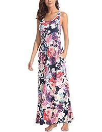 Women Floral Tank Maxi Dress Pocket Sleeveless Casual...