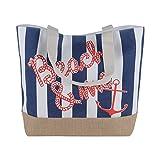 Canvas Burlap Beach & Me Printed Cotton Heavy Shoulder Straps Premium Women Tote Bag by BB (Navy Blue)