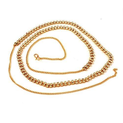 ACCESSHER 2 Line Stone White Brass Waist Hoop