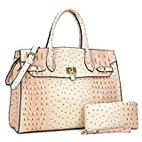 Women Top Handle Satchel Purse Large Handbag 2 Piece Wallet Set with Shoulder Strap Beige