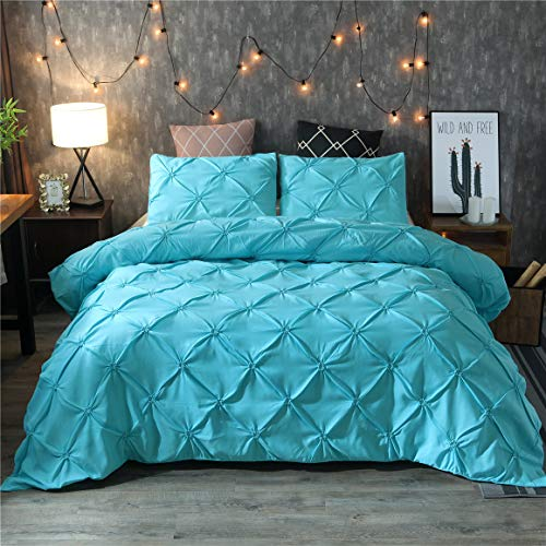 Tenghe Solid Pinch Pleated Pattern Duvet Cover Sets with Zipper Pintuck Bedding Cover Sets Brushed Microfiber Luxurious Soft(Turquoise,Queen)