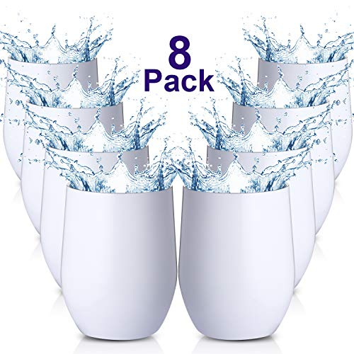 Maxdot 8 Pack Wine Tumbler Cup with Lids 12 OZ Double Wall Vacuum Stemless Insulated Wine Glasses, Durable Insulated Coffee Mug for Wine, Cocktail, Champagne, Beer, Water (White) ()