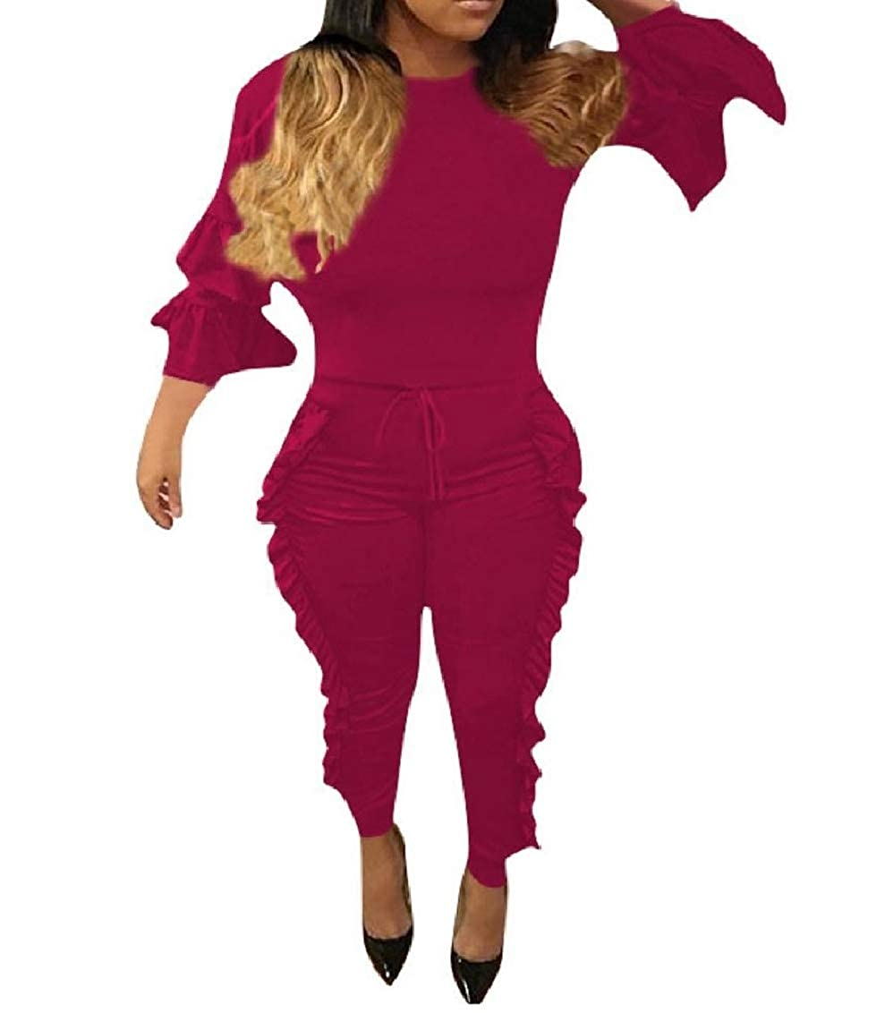 Freely Womens Flouncing Pure Color Long-Sleeve Drawstring Wide Leg Jumpsuit