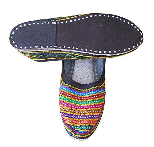 KALRA Creations Traditionelle Leder-indischen Damen Ballerinas Mehrfarbig