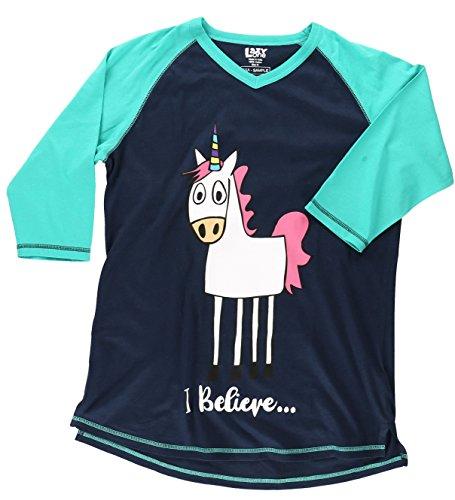 I Believe Unicorn Women's Legging Pajama Shirt TOP by LazyOne   Pajama TOP for Women ()