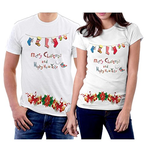 picontshirt Winter Christmas T-Shirts Collection Design 06 for Couple Size Men XL/Women XL White ()