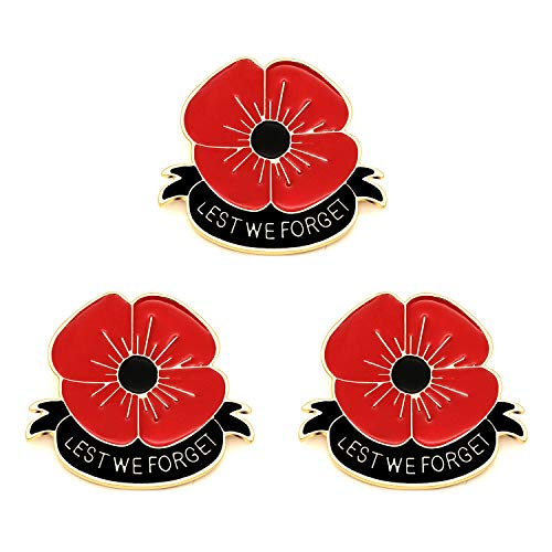 3pcs Lest We Forget Red Poppy Flower Brooch Broach Remembrance Memorial Day Jewelry