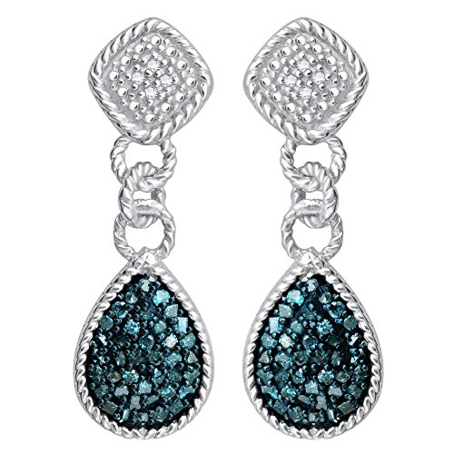 Sterling Silver 1/2 ct TDW Blue Diamond Dangling Fashion Earrings
