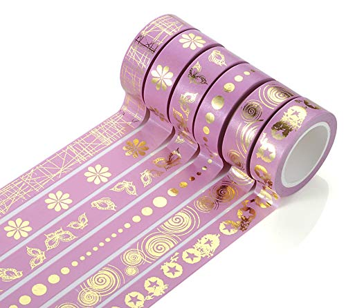 6 Rolls Washi Tape Set, Skinny Decorative Masking Washi Tapes for Scrapbooks, DIY Crafts, Cards, Journals, Planners, Gifts (15mm Wide 10m Long Each Roll)(Pink) (Set Chevron Stationery)