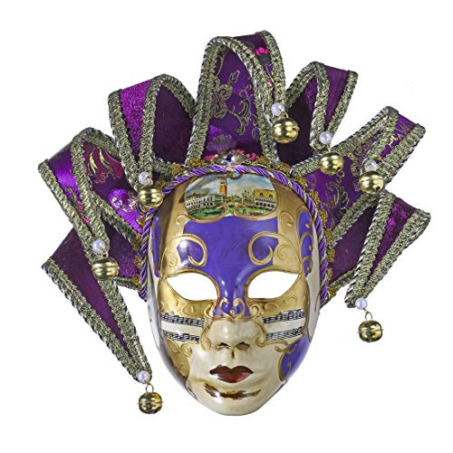 YU FENG Volto Resin Music Venetian Jester Mask Full Face Masquerade Bell Joker Wall Decorative Art Collection(Purple-13in) ()