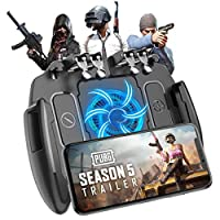 Mobile Game Controller, Upgrade 6 Fingers Operation Joystick Mobile Game Trigger with Cooling Fan Compatible for PUBG/Fortnite, for 4.7-6.5″ iPhone Android iOS Cellphone Gamepad Accessories