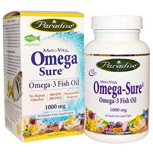 Paradise Herbs Medvita Omega Fish Oil Vegetarian Capsules, 60 Count