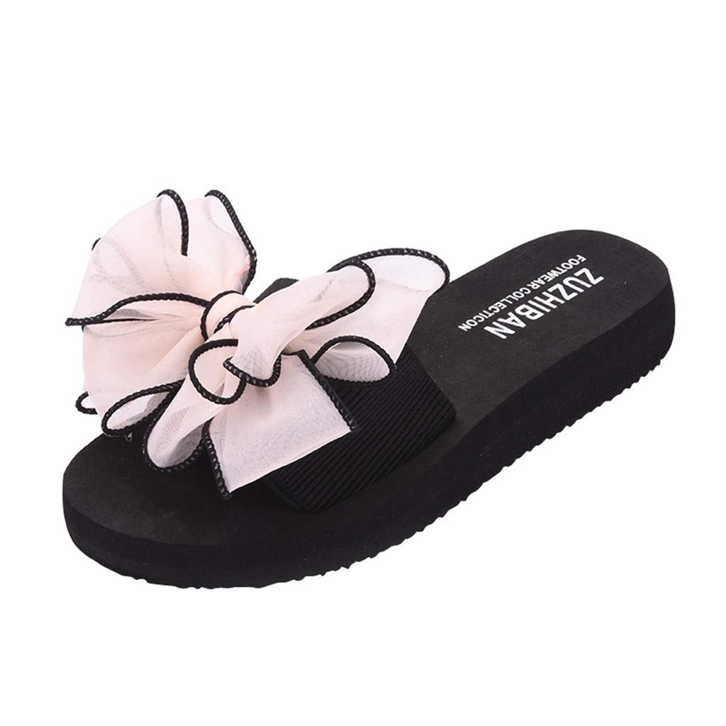 2019 Design! Women Ladies Lace Bow Slippers Flat-Bottomed Slip-On Wear Thick-Soled Sandals Platform Anti Skidding Shoes (Hot Pink, 5.5 M US)