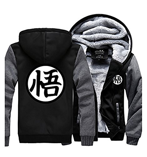 Costume Gt Goku (UU-Style Dragon Ball Z Son Goku Thicken Jacket Fleece Sweatshirt Plus Velvet Zip Outwear)
