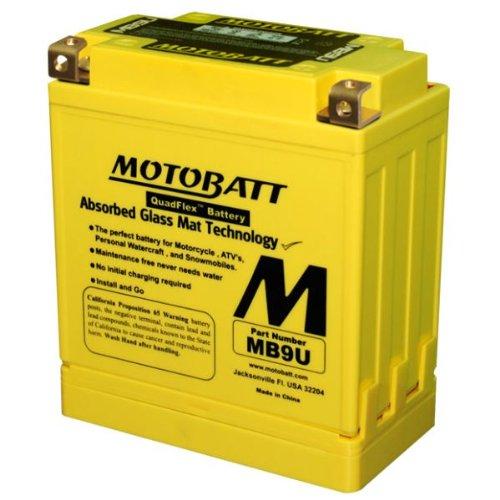 140CCA Factory Activated QuadFlex AGM Battery 12V 11 Amp MotoBatt MB9U