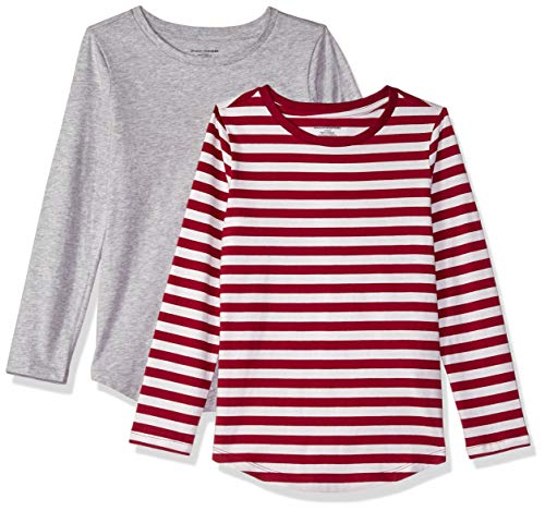 Amazon Essentials Little Girls' 2-Pack Long-Sleeve Tees, Even Stripe Beet Red and Heather Grey, S (6-7)