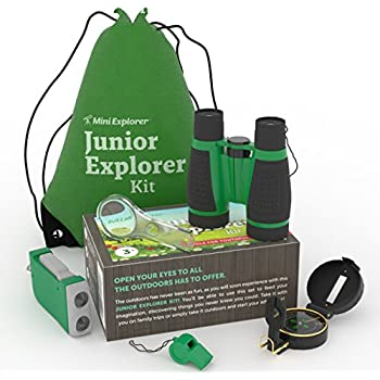 6-in-1 Outdoor Exploration Kit for Young Kids: Binoculars, Magnifying Glass, Whistle, Hand-Crank Flashlight, Lensatic Compass + Backpack | Great Educational Gift Set for Camping, Hiking, Bird Watching