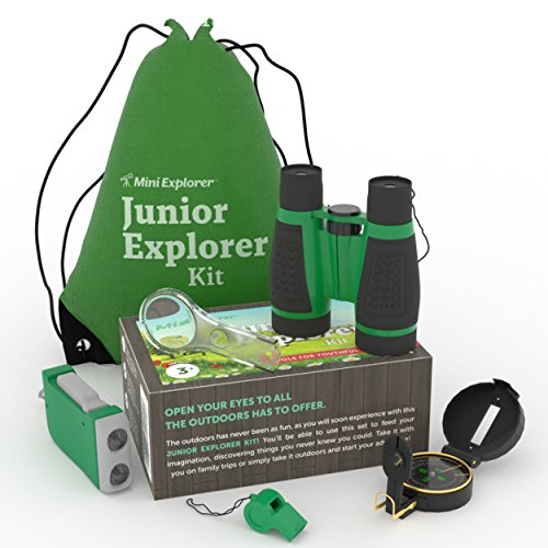 6-in-1 Outdoor Exploration Kit for Young Kids: Binoculars, Magnifying Glass, Whistle, Hand-Crank Flashlight, Lensatic Compass + Backpack | Great Educational Gift Set for Camping, Hiking, Bird (Explorer Set)