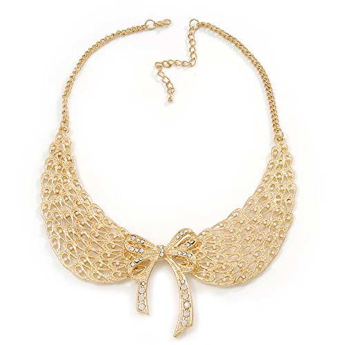 ('Angel Wings' Peter Pan Collar Necklace In Gold Plating - 38cm Length/ 6cm Extension)