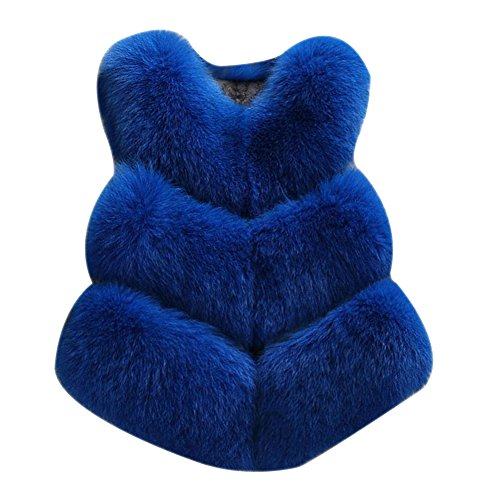 pelliccia Eco Di Chic Gilet Womens Della Senza Corto Giacca Laozan Maniche Maglia Volpe Zaffiro Blu Cappotto ngIXg5Atqx