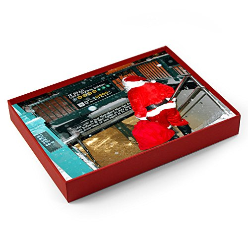 New York Christmas Holiday Cards Santa on Union Square (Boxed 12 Pack of 5x7 Cards - Envelopes - Square Card Union Gift