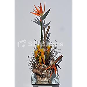 Large Bird of Paradise Floral Arrangement in Wooden Vase